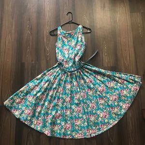 Lindy Bop Blue Floral Summer Swing Dress